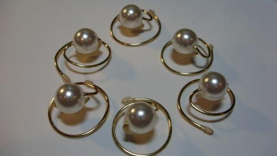 Ivory Simulated Pearls for your hair   Hair Swirls Hair Spins Spirals Twists Coils