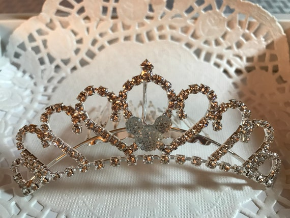 Hidden Mickey-Disney Wedding Comb-Mini Tiara-Crystal Rhinestones-Silver Tone Setting-Clear Jeweled