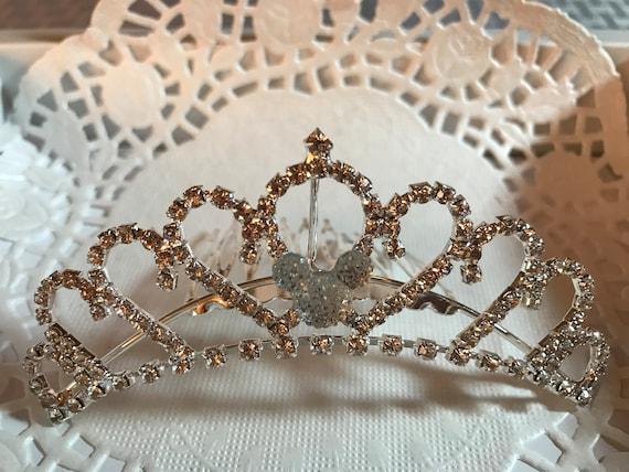 Clear Jeweled Hidden Mickey-Disney Wedding Comb-Mini Tiara-Crystal Rhinestones-Silver Tone Setting