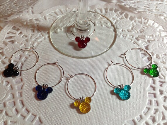 Mickey Mouse Wine Charms-Bright Colors-Disney Themed Shower-Wedding Party Free Gift Box-Shower Gift