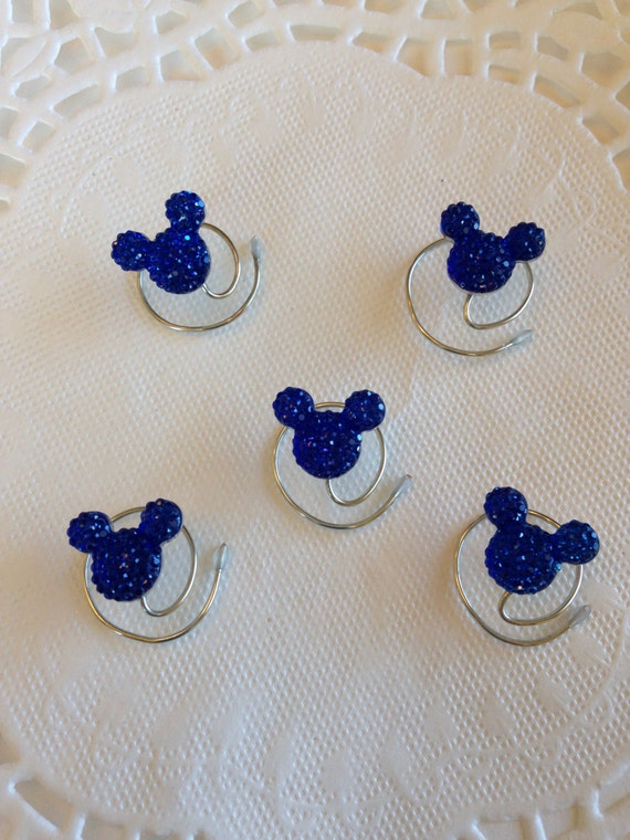 Disney Wedding Hair Swirls MOUSE EARS in Dazzling Royal Blue Acrylic Bridesmaids Flower Girls