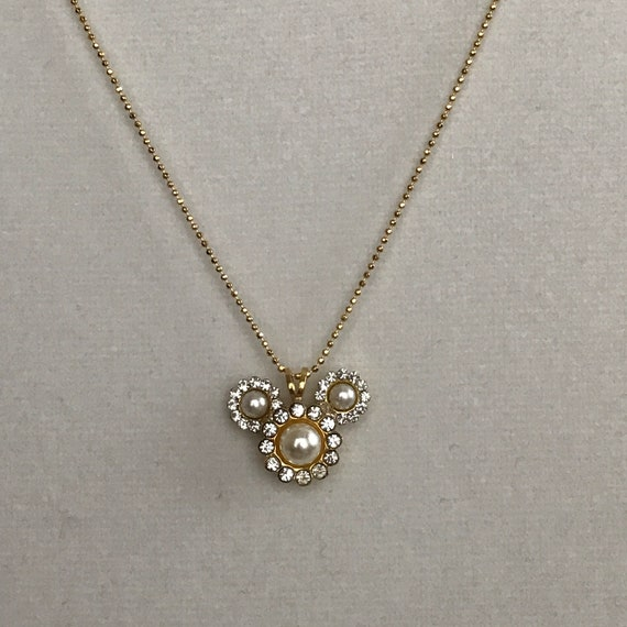 Mickey Mouse Rhinestone Pearl Necklace-Bridal Party Pendant-Disney Bridesmaids Gift-