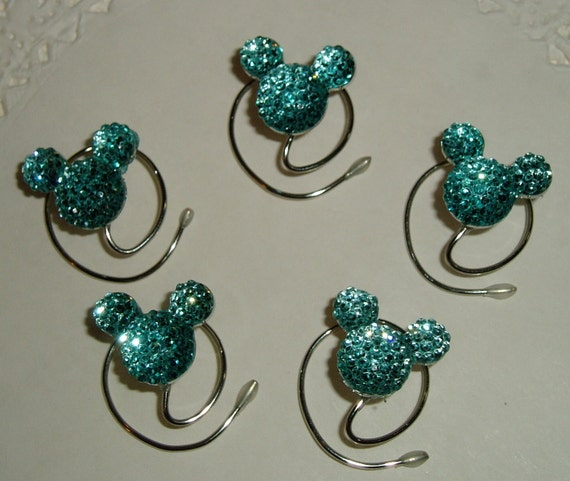 Cinderella Gift-MOUSE EAR Hair Swirls-Disney Wedding-Aqua Blue Acrylic-Hidden Mickey-Flower Girl