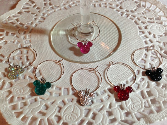 Disney Reception Mouse Ears Wine Charms in Bright Colors Home Barware Shower Gift Original Creator Mouse Ears Collection 2012 FREE Gift Box