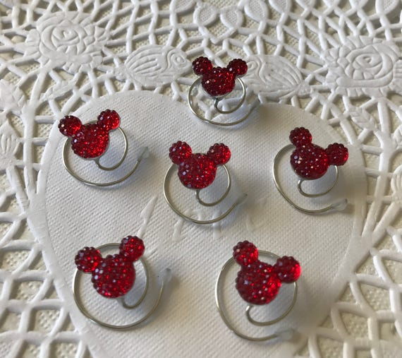 Disney Wedding-6 Red MOUSE EARS Hair Swirls--Cinderella Gift- Hair Coils-Red Hidden Mickeys-Original Creator of Mouse Collection 2012