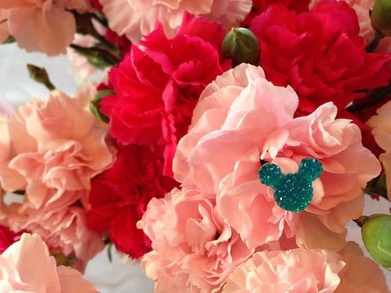 Disney Wedding -6 Bouquet Picks-Bright Aqua Blue Acrylic-Mouse Ears Corsage-Floral Pins-Flower Picks-Centerpiece-Boutonniere