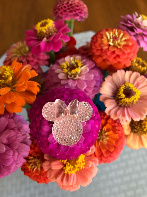 Minnie Mouse Flower Pins-Disney Wedding Bouquet Flower Picks-Mouse Ears  Bouquet Picks-Baby Pink