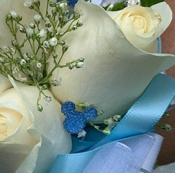 Disney Inspired Wedding Corsage Pins-Mouse Ears -Bridesmaids Bouquets-Reception Centerpieces-Groomsmen Boutonnieres-Powder Blue