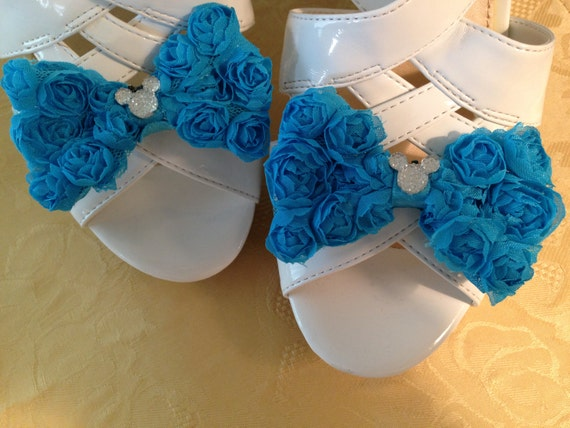 Disney Wedding Shoe Clips-Hidden Mickey Shoes - Aqua Bridal Party-Disney Trip-Going Away Outfit