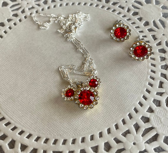 RESERVED for JENNIEFER VALERIE-Mickey Mouse Necklace and Earrings- Disney Fans Pendant-Wedding Bridesmaids-Classic Red Mickey
