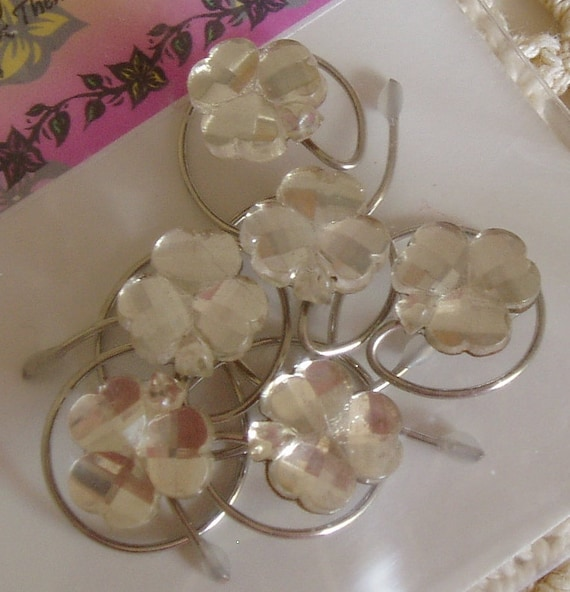 Irish Wedding Crystal Clear Shamrock Hair Swirls Hair Spins Spirals Twists or Coils