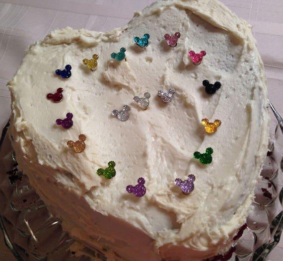 Hidden Mickey Cake Picks-Wedding Cupcake Posts-Wedding-Cake Birthday Party-Shower Gift Disney Wedding Disney Party