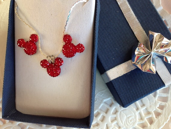 Hidden Mickey EARS-Necklace and Earrings Set-Disney Themed Wedding Party-Jewelry-Bright Red Acrylic
