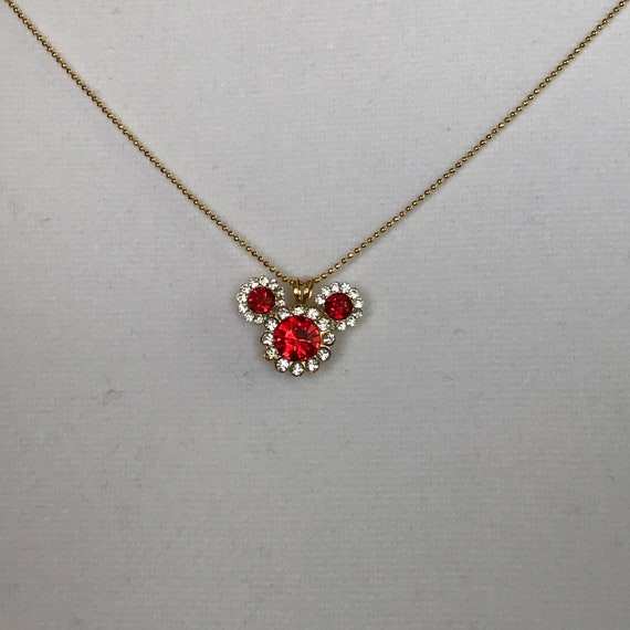 Disney Fans Necklace-Mickey Mouse Pendant-Wedding Bridesmaids-Classic Red Mickey