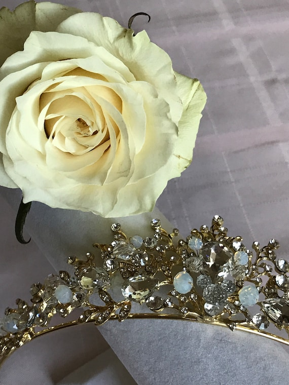Disney Inspired Wedding-Crystal Clear Rhinestone Jeweled Tiara-Golden Setting-Hidden Mickey-Bride To Be Shower Gift-Matching Earrings
