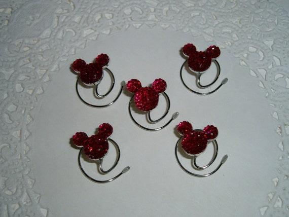 MOUSE EARS Hair Swirls for Disney Wedding in Dazzling  Fuchsia Acrylic