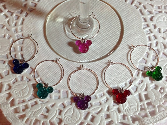 Disney Shower Gift-Mouse Ears Wine Charms-Jewel or Pastel Colors-Home Barware