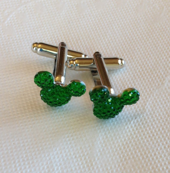 MOUSE EARS Cuff links for Wedding Party in Dazzling Green Acrylic Groomsmen Gift Themed Wedding Gift Box Included for FREE