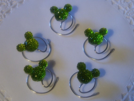 MOUSE EARS Hair Swirls-Disney Wedding-Dazzling Lime Green Acrylic-Bridesmaids-Cinderella Gift