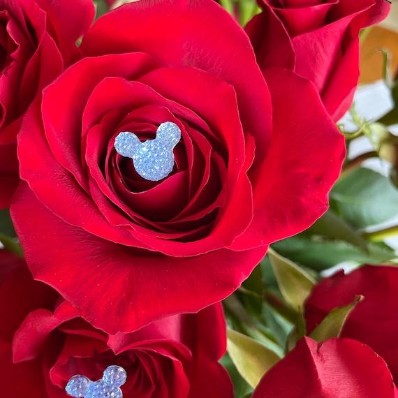 HIdden Mickey Flower Picks-Powder Blue (New Color)-Disney Wedding Bridal Party Bouquet Pins (Qty 12)-Cinderella Blue