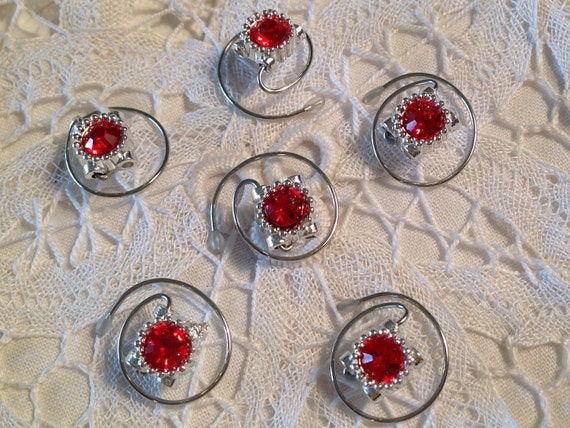 Prom Hair Spins Red Rhinestones in Silver Toned Setting Bridal Party Flower Girl Hair Spirals Coils Twists (6 pieces)