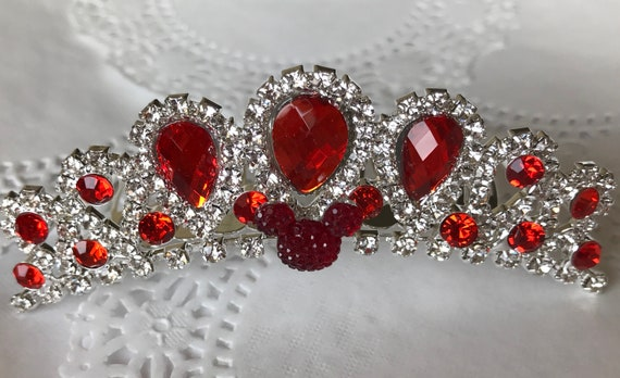 Red Jeweled Hidden Mickey-Disney Wedding Comb Tiara-Crystal and Red Rhinestones-Silver Tone Setting-