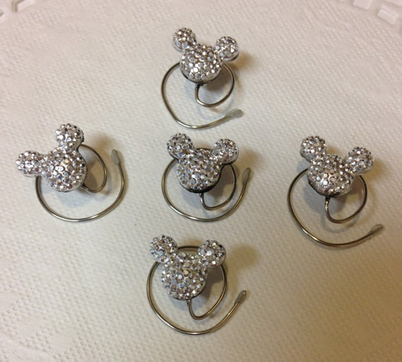 Hidden Mickey MOUSE EARS Hair Swirls-Disney Wedding-Silver Tone Acrylic-Flower Girl Hair Spins