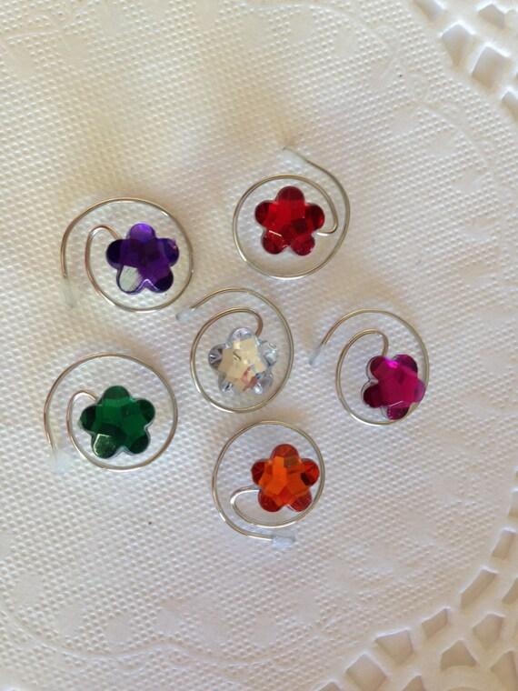 Hair Swirls Spins Spirals Coils in Adorable Flower Gems in Sparkling Rainbow Colors