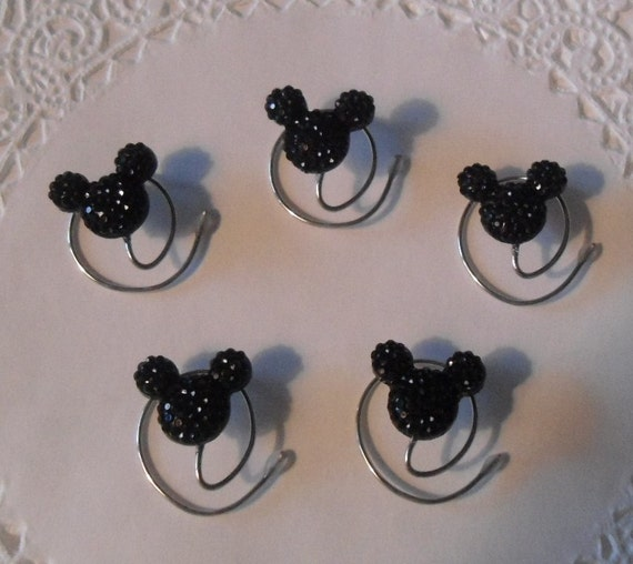 MOUSE EARS Hair Swirls for Disney Wedding in Dazzling Black Acrylic