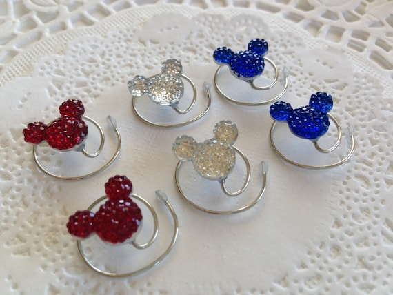 Mouse Ears Hair Jewelry in Red White and Blue Hair Swirls Spins Spirals Coils 4th of July Celebration
