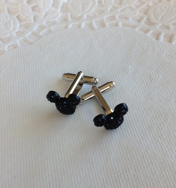 MOUSE EARS Cufflinks for Wedding Party-Black Acrylic-Gift Box Included