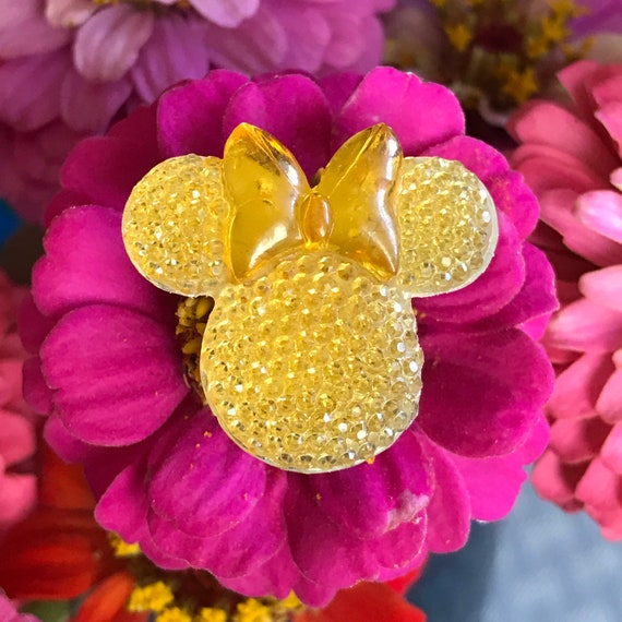 Minnie Mouse Flower Pins-Disney Wedding Bouquet Flower Picks-Mouse Ears  Bouquet Picks-Baby Pink Shower Centerpiece