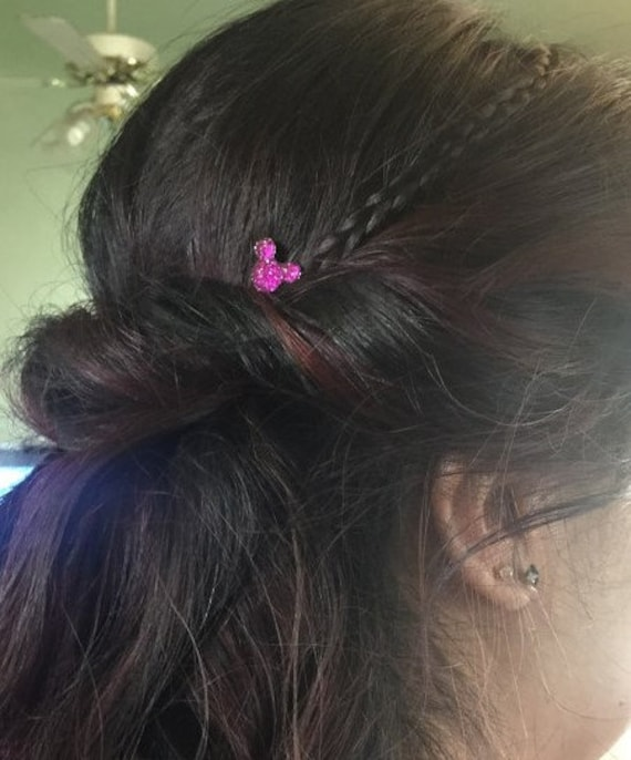 Hidden Mickey Hair Swirls-Disney Wedding-Bright Pink Acrylic Hair Twirls Coils Twists Spin Pins Spirals