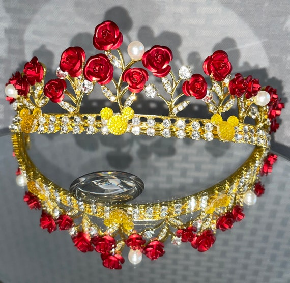 BELLE Inspired-Bridesmaid Tiara-Disney Inspired Wedding-Flower Girl Tiara-Hidden Mickeys Too!