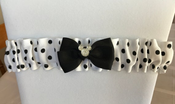Disney Inspired Wedding Garter-Bridal Garter-Minnie Black and White Polka Dot-Disney Shower Gif