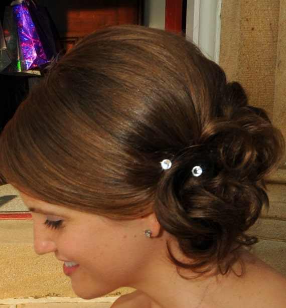 Swarovski Bridal Hair Swirls Crystal Clear Round Wedding Ballroom Dancing Prom