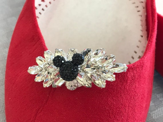 Mickey Mouse Shoe Clips-Disney Wedding Accessory-Flower Girl-Disney Cruise Party-Engagement Party(1 Pair)
