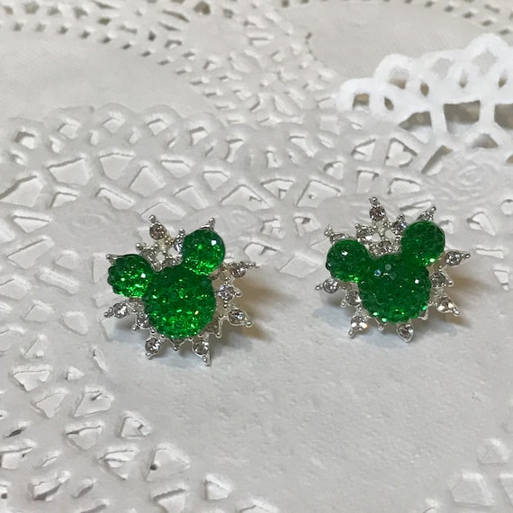 Disney Inspired Wedding-Celestial Star Mickey Pierced Earrings-Bridal Party-Star Snowflake-Christmas Green Mouse