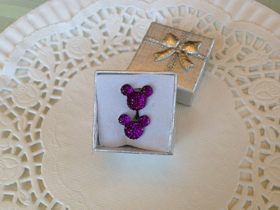 MOUSE EARS Cufflinks for Wedding Party in Dazzling Purple Acrylic Gift Box Included FREE