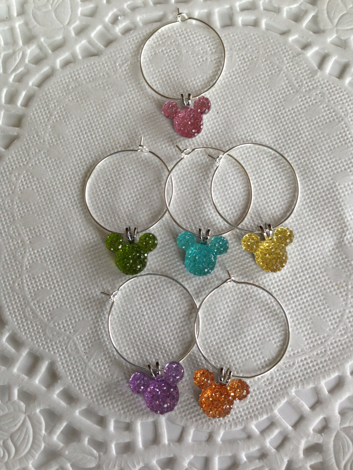 disney inspired wedding shower wine charms jewel pastel mickey mouse ears shower present kitchen accessory