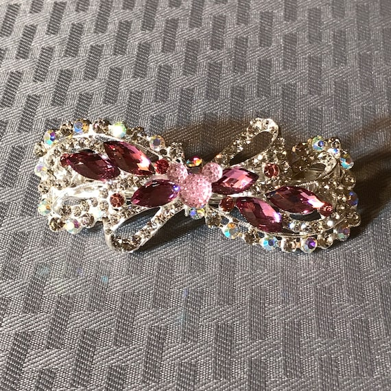 Disney Inspired Barrette-Dapper Days-Rhinestone Hair Accessory-Bachelorette Party-Bridal Shower Gift-Engagement Party-Shades of Pink