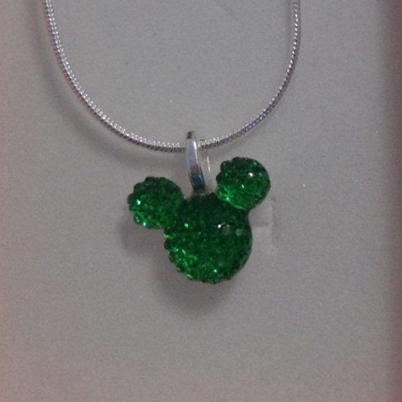 Disney Flower Girl Gift-Wedding MOUSE EARS Necklace-Bridal Party Gifts-Green Acrylic