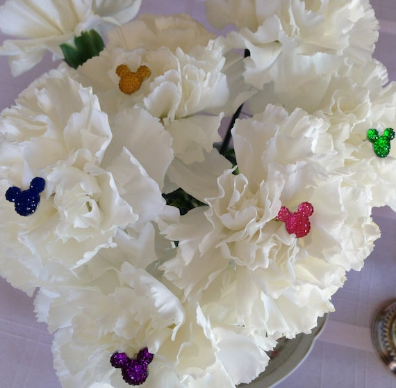 4 Hidden Mickey Flower Pins-Bouquet Pins-Disney themed Wedding-Floral Pins Bouquet Picks-Multi Colors of Your Choice