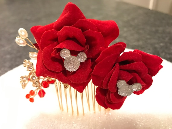 Disney Inspired Wedding Comb-Hidden Mickey Hair Jewelry-Bridesmaids Gift-Shower Gift-Double Red Rose Comb