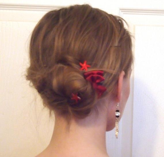 Starfish Hair SwirlsHair Twists-Hair Spins-Hair Spirals-Red Acrylic-Beach Wedding Party-Beach Party Bash