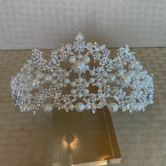Disney Inspired Tiara with Hidden Pearl Mickeys-Dapper Days-Disney Wedding Shower-Silver Tone
