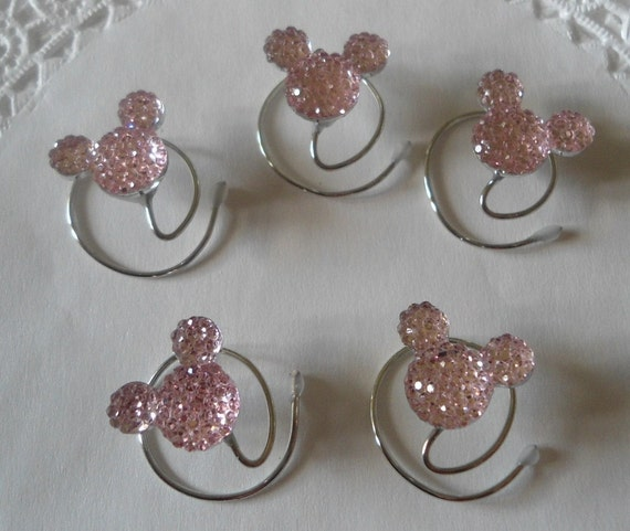 MOUSE EARS Hair Swirls for Disney Wedding-Pale Baby Pink Acrylic-Tinker Bell Gift-Flower Girl-Cinderella Gift