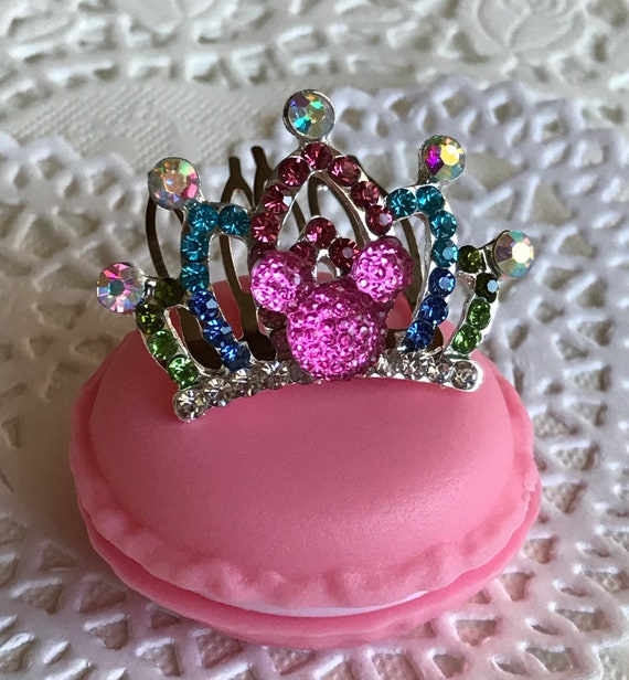 Bright Pink Hidden Mickey Mini Tiara-Disney Wedding Flower Girl-Birthday Princess-Flower Girl Gift-Toddler Tiara Comb-Junior Bridesmaids-