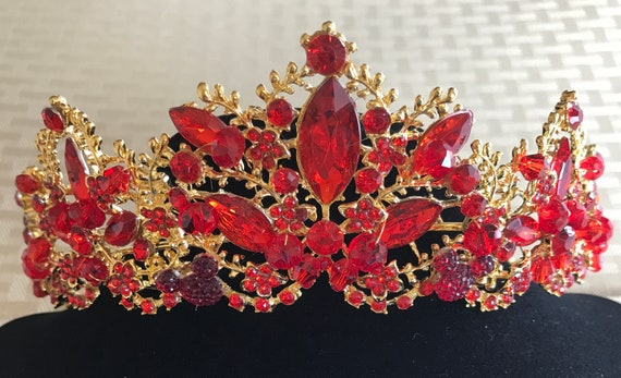Disney Inspired Wedding-Red Rhinestone Jeweled Tiara-Gold Tone Setting-Hidden Mickey-Bride To Be Shower Gift