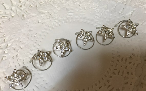 Rhinestone Stars-Silver Tone Setting-Hair Jewelry Hair Swirls Spins Spirals Coils Twists Twisties